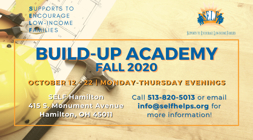 Promotional photo depicting Build-Up Academy information: October 12 - 22 | Monday - Thursday evenings.