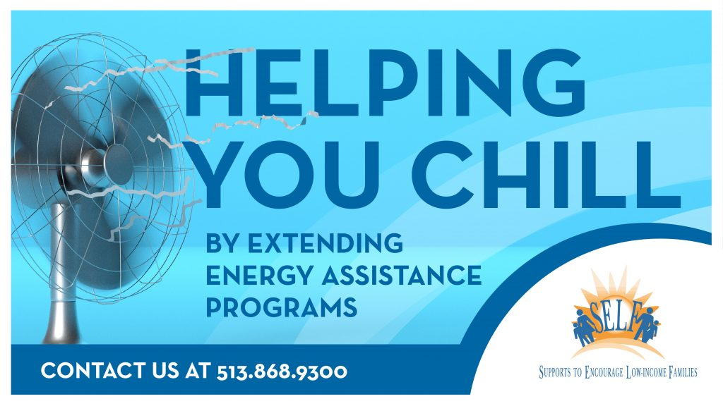 "Graphic with a fan saying ""Helping you chill by extending energy assistance programs"""